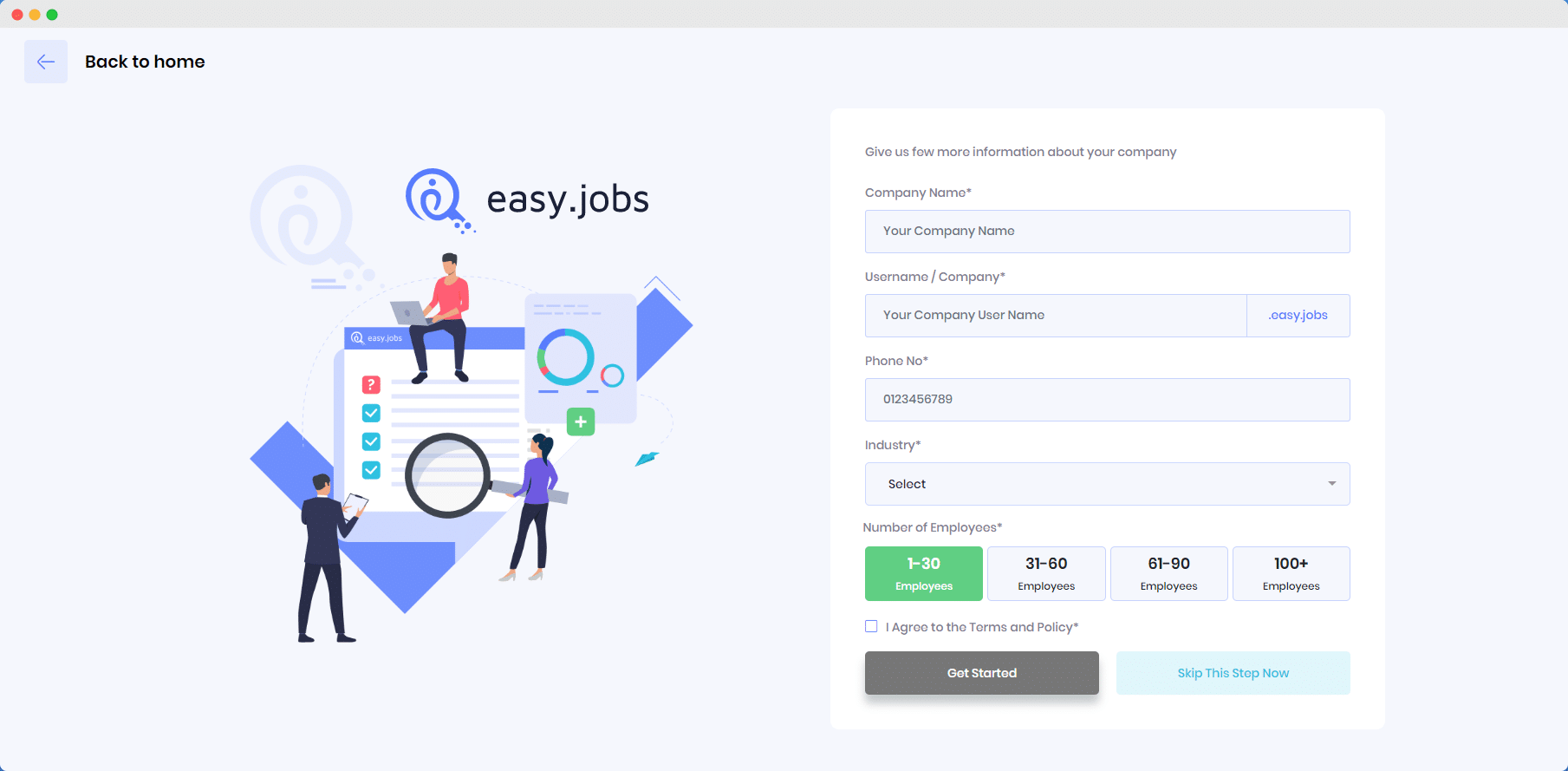 getting started, easy.jobs