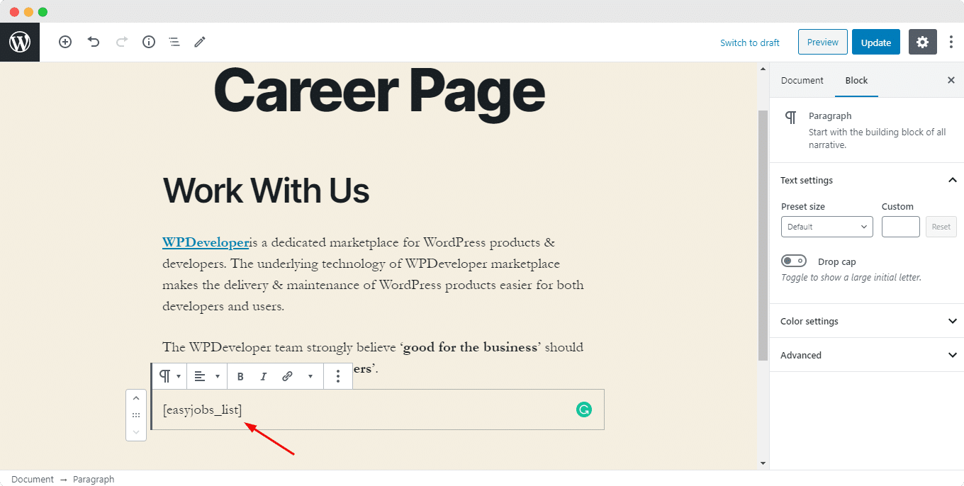 Create a Career Page using easy.jobs