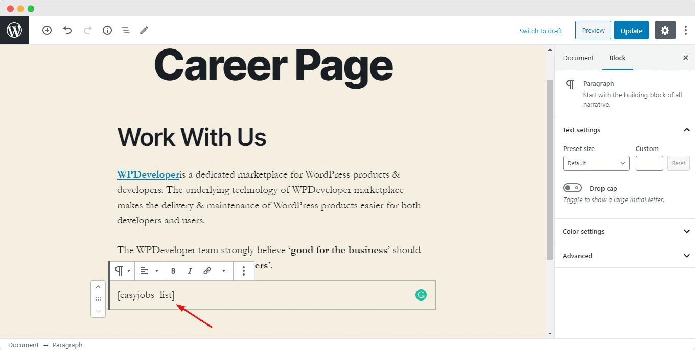 Crea una página de carrera usando easy.jobs