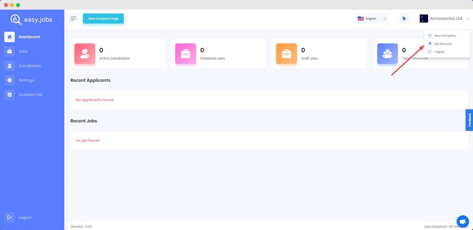 easy.jobs, delete, user accou