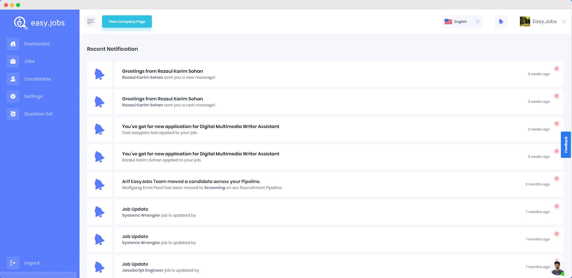 ¿Cómo verificar todas sus notificaciones en Easy.Jobs? 2