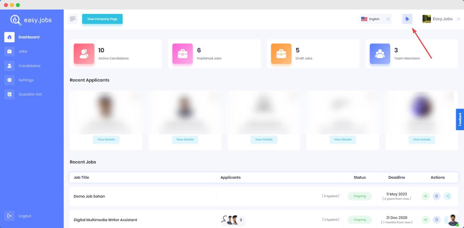 ¿Cómo verificar todas sus notificaciones en Easy.Jobs?