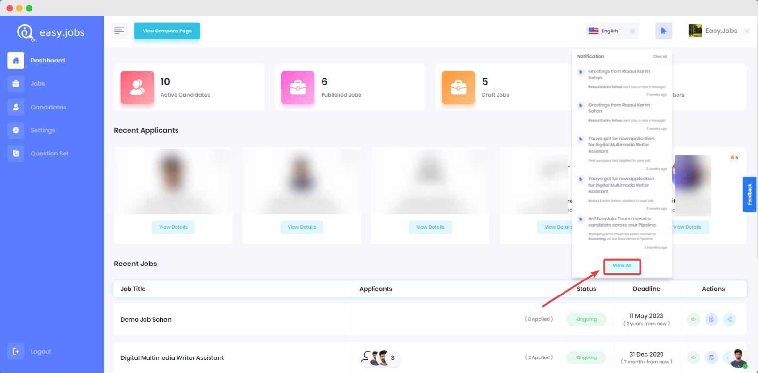 ¿Cómo verificar todas sus notificaciones en Easy.Jobs? 1