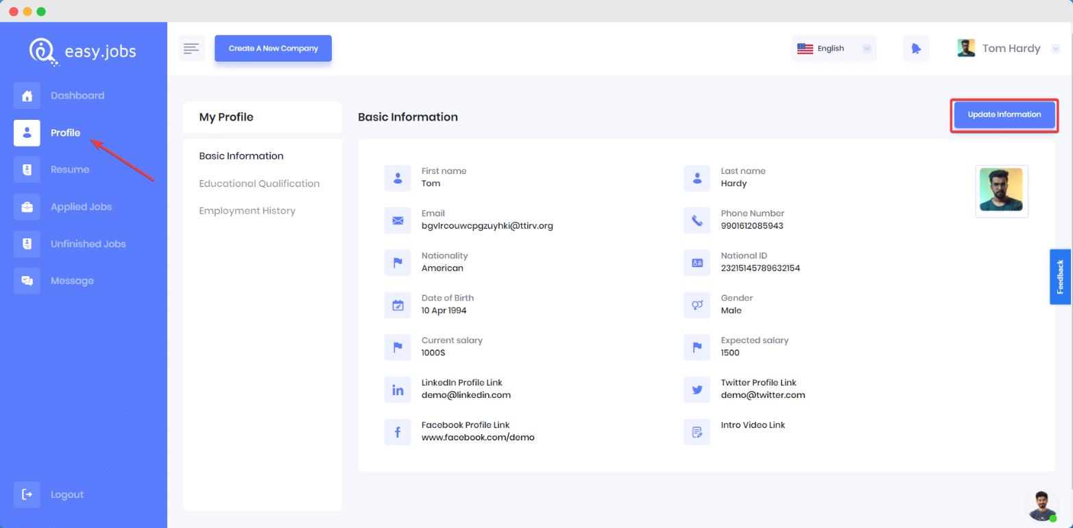 Come modificare il profilo del candidato in Easy.Jobs? 2
