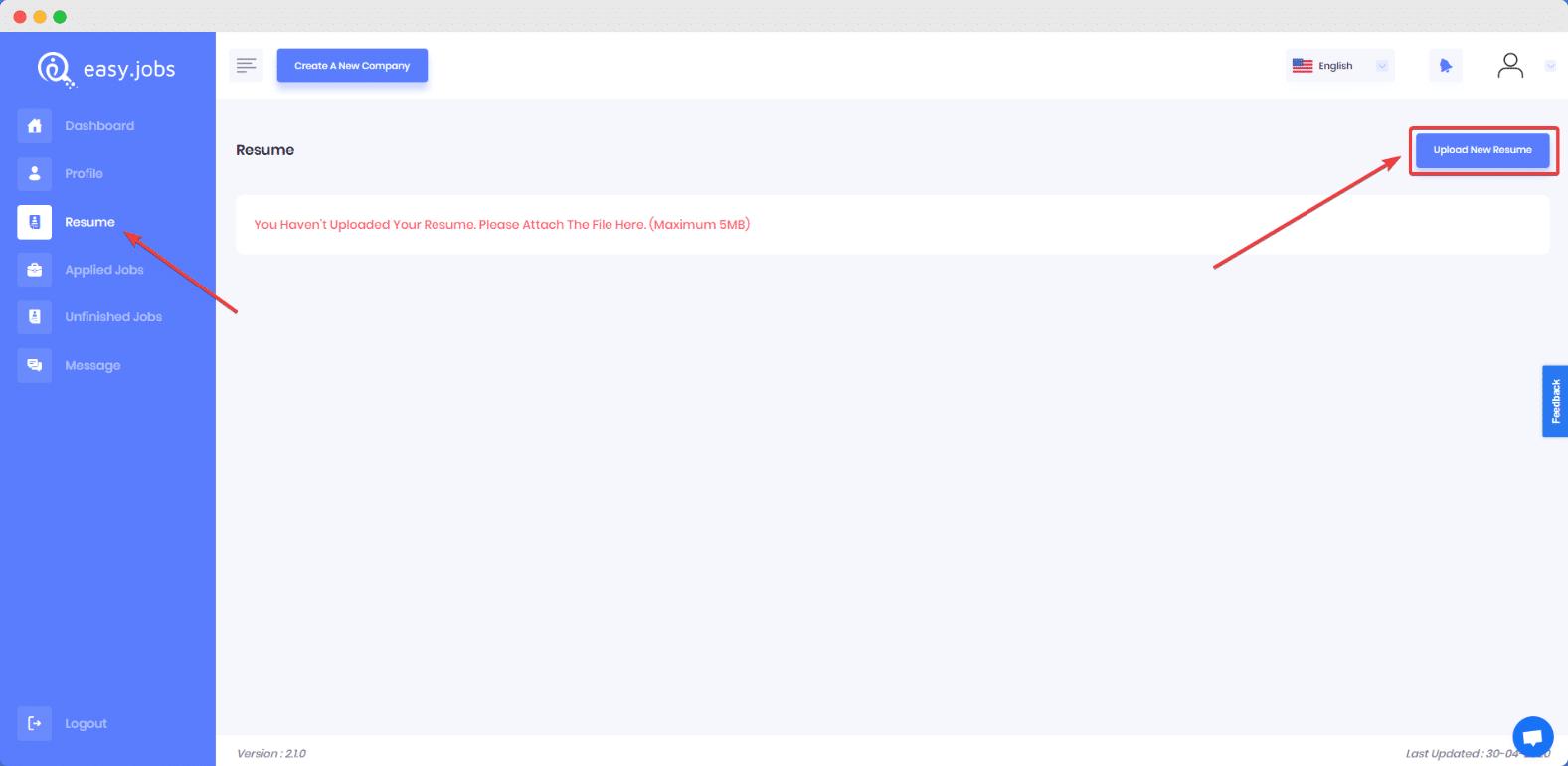 how do i upload or update resume in easy jobs