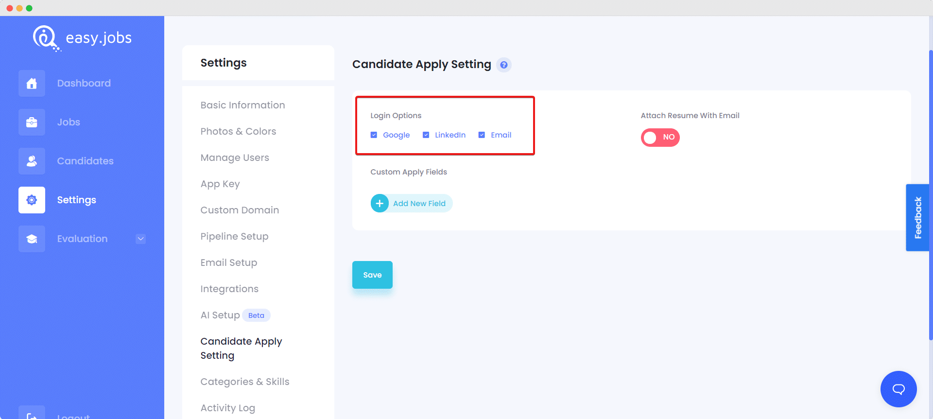 candidates apply settings