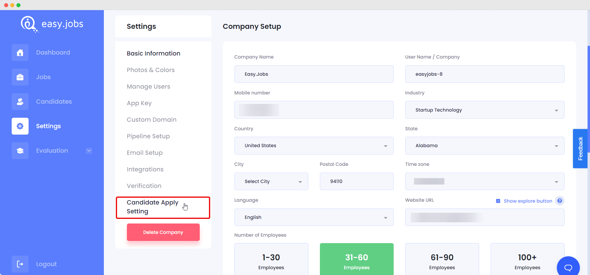 Candidate Apply Settings